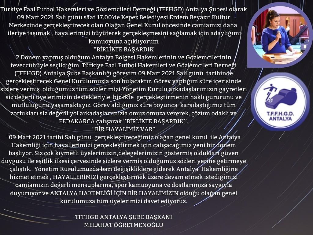 Tffhgdantalya Şube Başkanı Melahat Öğretmenoğlundan Mesaj Var